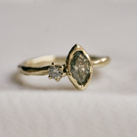 Robuuste ring met markiesdiamant