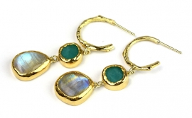 Earrings with andes opal and moonstone