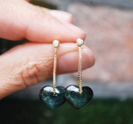 Oorhangers met harten van tourmalijn