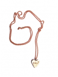 Bronze candy heart on a gold plated long chain