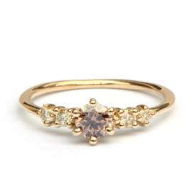 Verlovingsring met reddish brown diamant