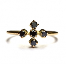Ring with five black diamonds