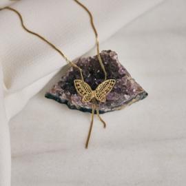 Collier met gouden kanten vlinder