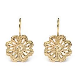 Gold lace flower earrings