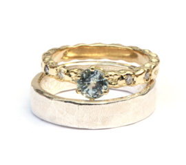 Trouwringenset met witte saffier en diamant