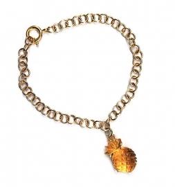 Ananas bedel aan gouden armband