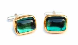 Cufflinks with green tourmaline