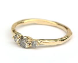 Trouwringenset hamerslag grijze diamant