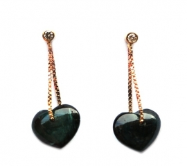 Earrings with tourmaline hearts