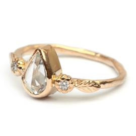 Ring met polki saffier en diamant