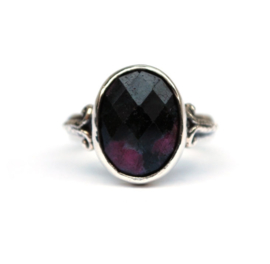 Silver ring with ruby zoisite