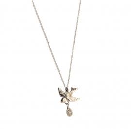 Witgouden collier met zwaluw