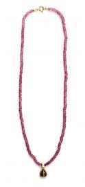 Roze toermalijncollier met diamanthanger