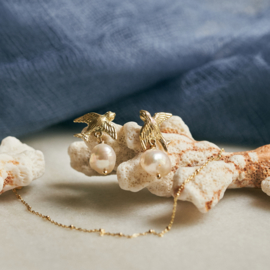 Swallow earrings with pearls