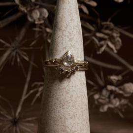 Fijne takjesring met roos geslepen diamant