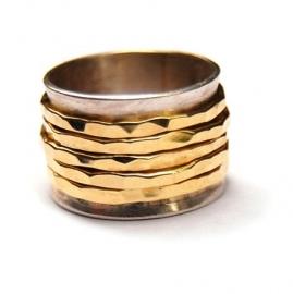 Ring met bandjes goud en zilver