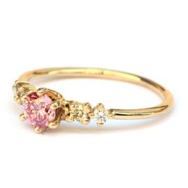 Lotus ring met roze diamant GERESERVEERED