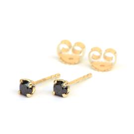 Zwarte diamanten oorstekers