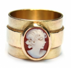 Gold cameo ring with hammered wide band