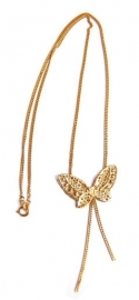 Necklace with gold lace butterfly