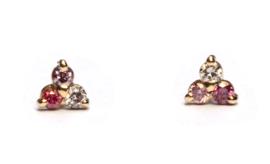 Oorstekers met drie kleuren roze diamant