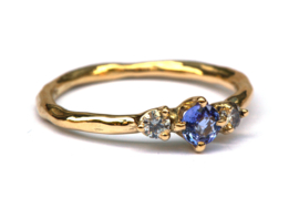 Ring met tanzaniet en grijze diamanten