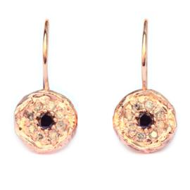 Mozaïek oorhangers zwarte diamant