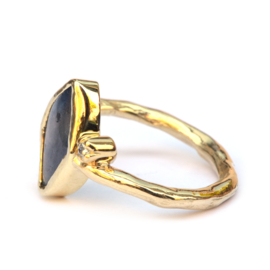 Ring met free form saffier en diamant