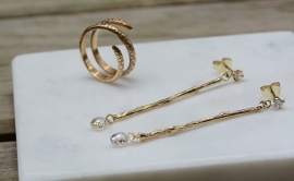 Twiggy earrings with diamond briolettes.