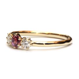Cleo ring met rhodoliet en diamant