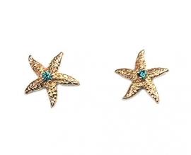 Zeester oorstekers met blauwe diamant
