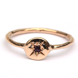 Rose gold signet ring with ruby
