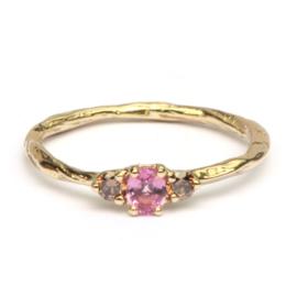 Ring Amy met roze saffier en choco diamanten