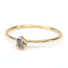 Fijne ring met ovale salt & pepper diamant