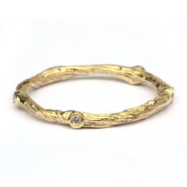 Geelgouden Twiggy ring met diamantjes