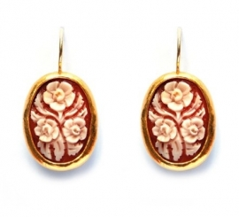 Gold earrings with flower cameos