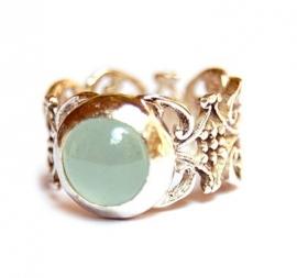 Zilveren kanten ring met aquamarijn