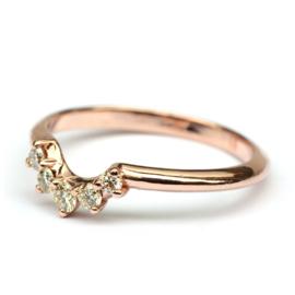 Stackring rosegoud met diamant