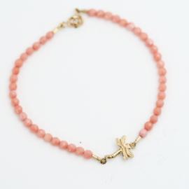 Armband roze koraal Libelle