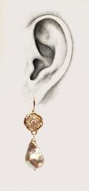 Mozaiek oorhangers met parels