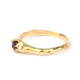 Warme ring met toermalijn en diamant