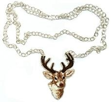 Long necklace with embroidered deer
