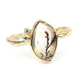 Ring met dendriet quartz