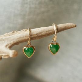 Oorhangers met hartjes van jade