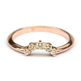 Stackring rosegoud met diamant GERESERVEERD