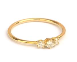 Fijne ring met 3 diamanten