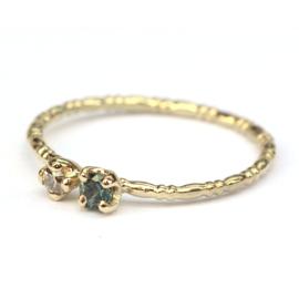 Ring Joy met groenblauwe saffier en diamant
