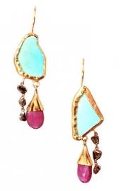 Turkoois tourmalijn en diamant oorhangers