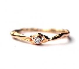 Verlovingsring rosegoud met diamant