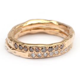 Grillige aanschuifring met 9 chocobruine diamanten